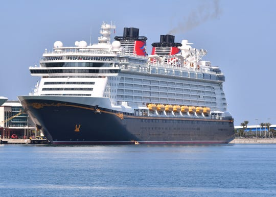 The Disney Dream was docked at Port Canaveral on Friday for its final cruise before a suspension of operations because of the coronavirus pandemic.