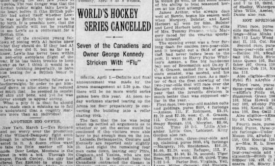 A screenshot of the Montreal Gazette reports the cancellation of the 1919 Stanley Cup Final due to spread of the flu among players and coaches.