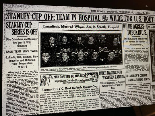 A picture of the page from the April 2, 1919 Toronto Globe newspaper reporting the cancellation of that year's Stanley Cup Final between the Montreal Canadiens and  the Seattle Metropolitans.