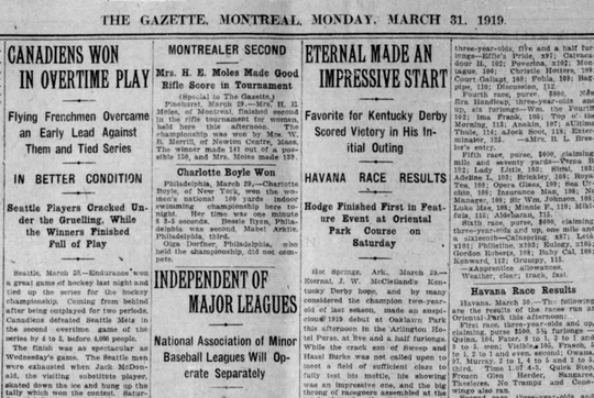 A screenshot of the March 31, 1919 edition of the Montreal Gazette reports the Canadiens' overtime win in Game 5 of the Stanley Cup Final against the Seattle Metropolitans. The game was the last between the teams before the series was abandoned and no title was awarded.