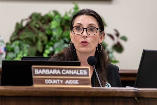 Nueces County Judge Barbara Canales at an emergency meeting of the Nueces County Commissioner's Court. Texas Governor Greg Abbott announced a disaster declaration for all Texas counties at a Friday morning press conference.
