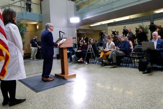 Ohio Governor Mike DeWine gives an update at MetroHealth Medical Center Thursday, Feb. 27, 2020, in Cleveland, on the state's preparedness and education efforts to limit the potential spread of a new virus which caused a disease called COVID-19. (AP Photo/Tony Dejak)