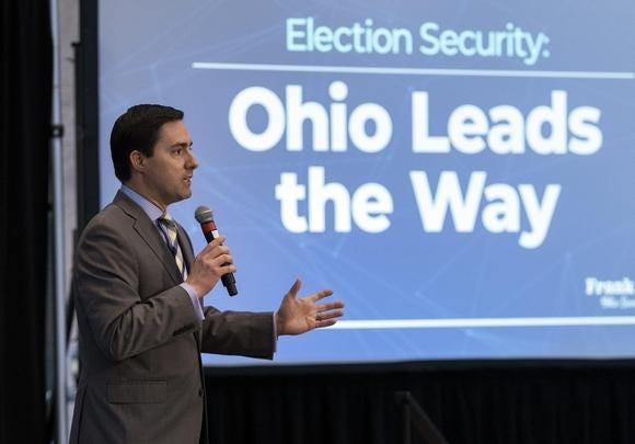 Secretary of State Frank Larose delivers the keynote address during a conference about election cybersecurity at the Statehouse last month. He said Friday that Ohio's primary election would not be moved despite concerns about the spread of COVID-19.