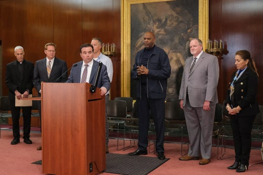 Mayor John Cranley speaks at a press conference at Saint Peter in Chains Cathedral in Cincinnati, with local religious leaders regarding worship services, Friday, March 13, 2020.