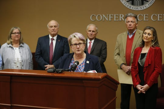 Butler County Health Commissioner Jennifer Bailer speaks at a press conference regarding cases of COVID-19 at the Butler County Government Services Building in Hamilton on March 13, 2020.