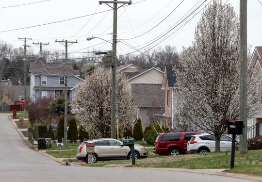 In this image, the rows of homes along Dresden Way sit quietly around the scene of a homicide that occurred early in the morning in the 3300 block of Dresden Way in Clarksville, Tenn., on Friday, March 13, 2020.