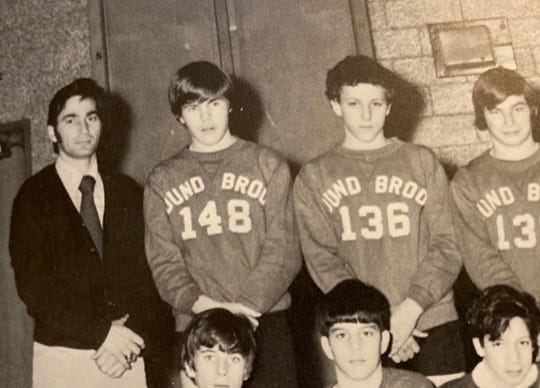 Coach Koupiaris (standing left) during the 1973-74 season with Bound Brook's junior high school team