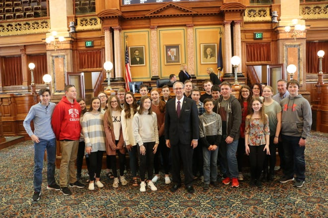 State Rep. John Landon, R-Ankeny, welcomed eighth-grade students from North Polk to the Iowa House of Representatives. The class was visiting the Capitol to meet with representatives and learn about the history and functions of our state government.