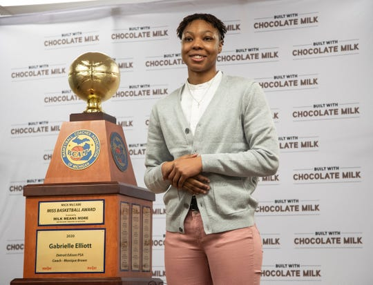 Gabrielle Elliott of Detroit Edison speaks after being presented the Miss Basketball award trophy at Detroit Edison Public School Academy in Detroit, Friday, March 13, 2020.