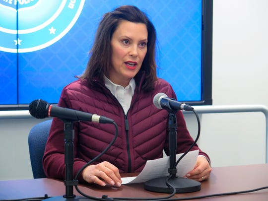 In this Tuesday, March 10, 2020, file photo, Michigan Gov. Gretchen Whitmer announces the state's first two cases of coronavirus, at the Michigan State Police headquarters in Windsor Township, Mich.