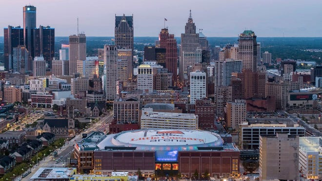 Arena Aerial of Little Caesars Arena and the Detroit skyline.