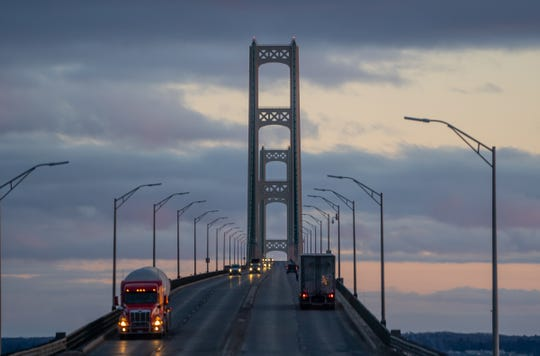 Traffic moving along the Mackinac Bridge is seen from the Upper Peninsula.