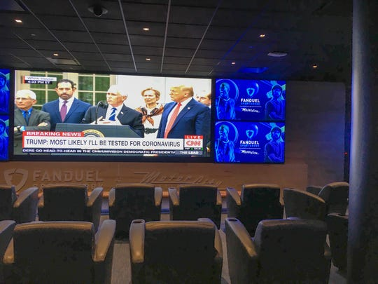 With no games to show on its many televisions, the only action on screen at the MotorCity Casino's new sports book Friday afternoon was President Donald Trump's coronavirus news conference.