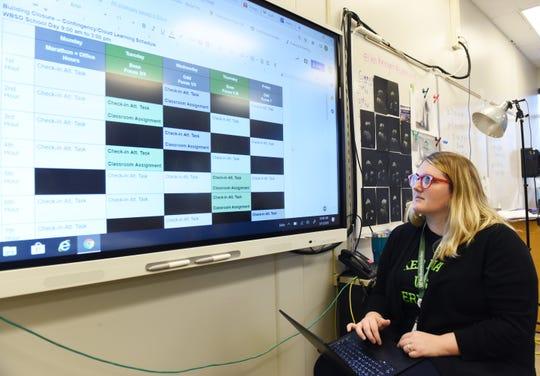 Ellen Herget, an art teacher, prepares her online schedules and classes for her students at West Bloomfield High School.