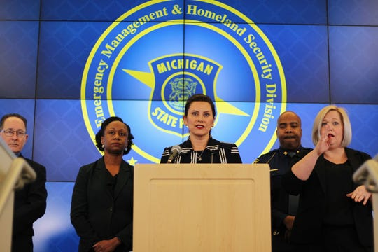 Gov. Gretchen Whitmer speaks at a press conference on Thursday, March 12, 2020, and announces the closure of schools in Michigan from March 16, 2020, through April 5, 2020.