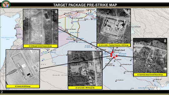 This annotated image provided by the U.S. Department of Defense, shows aerial images of sites that were to be targeted in U.S. airstrikes in Iraq on Friday, March 13, 2020.