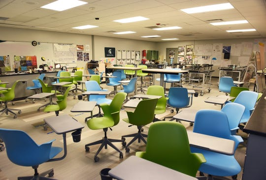 This is an empty classroom at West Bloomfield High School on Friday, March 13, 2020. Students were asked to stay home, while educators used Friday to prepared to to teach students online due as a coronavirus precaution.