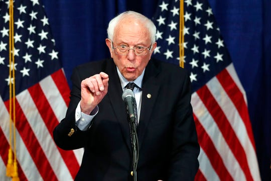 Democratic presidential candidate, Sen. Bernie Sanders, I-Vt., speaks to reporters on Wednesday, March 11, 2020, in Burlington, Vt.
