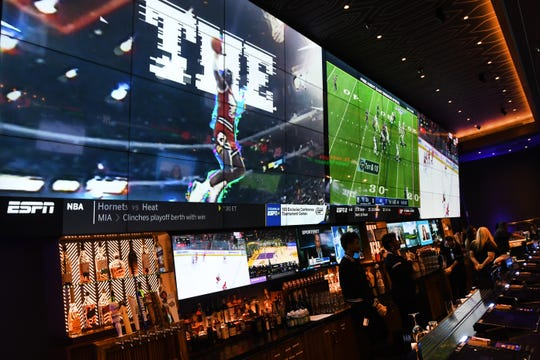 Big screen televisions and comfy seating areas are seen at the BetMGM Lounge located inside the MGM Grand Casino in Detroit on Wednesday,  March 11, 2020 the first day for sports betting at the Detroit casinos.