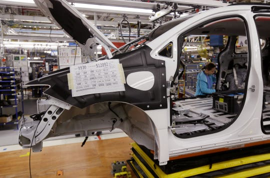 A Chrysler Pacifica moves on the assembly line at the Windsor Assembly. Production there resumed Friday afternoon after employees on Thursday refused to work after one employee was put in self-quarantine.