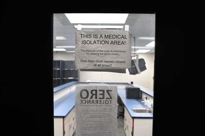 The entrance to a medical isolation unit at the Vanderburgh County jail Friday morning. The unit is currently empty but is available when or if infected inmates are identified Friday, March 13, 2020.