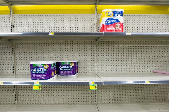 Toilet paper is limited at the Dollar General on Upper Mount Vernon Rd., Friday afternoon, March 13, 2020. The store has seen a major run on disinfectants, toilet paper and other household items due to the treat of the coronavirus.