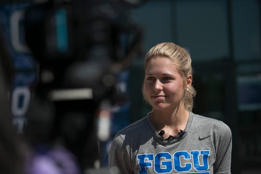 Mikenzie Vaughn, a senior FGCU softball player, talks about her sadness over the disruption of spring sports during a press conference on Friday, March 13, 2020, at FGCU.