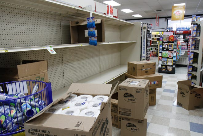 Customers at the Everyday IGA on 1st Avenue South could find toilet paper in boxes at the store on Friday afternoon. Grocery stores across the nation are experiencing toilet paper shortages as a response to the coronavirus pandemic. An employee at the local IGA said that the next shipment isn't expected to arrive until Tuesday.