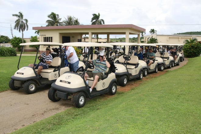 In this September 2007 file photo, U.S. Air Force personnel wait to tee-off for a golf tournament at the Admiral Nimitz Golf Course, in Barrigada. Gov. Lou Leon Guerrero said the course, which was closed in February 2013, would an ideal location to build a new public hospital to replace Guam Memorial Hospital.