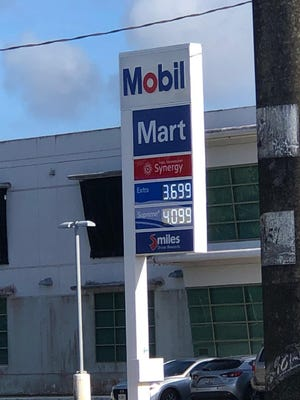 Mobil in Hagåtña displays a new, reduced price for unleaded fuel: $3.70 a gallon on Friday, March 13, 2020.