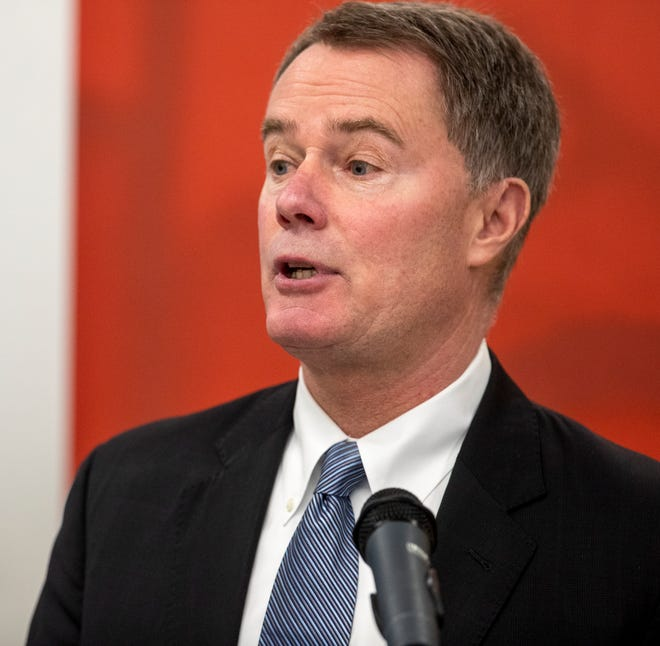 Joe Hogsett, Indianapolis' mayor, at a press conference at United Way of Central Indiana amid fears about COVID-19,  Indianapolis, Friday, March 13, 2020. Various organizations are ramping up humanitarian efforts in the area.