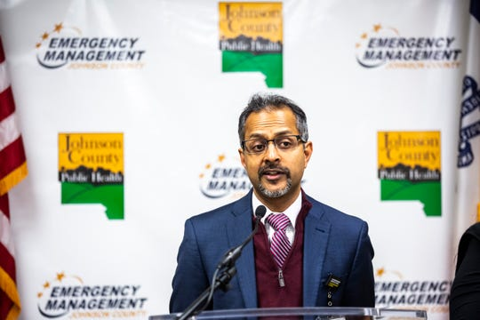 Suresh Gunasekaran, University of Iowa Hospitals and Clinics CEO, speaks during a press conference providing an update on COVID-19, Friday, March 13, 2020, at the Johnson County Emergency Operations Center in Iowa City, Iowa.