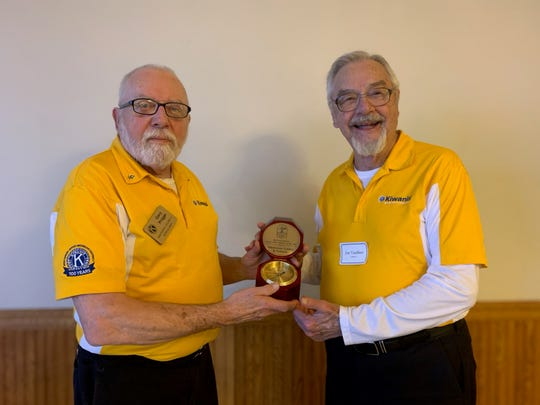 2019 History Makers - Lisa Rohrer Square Nail Volunteer Award was presented to the Manitowoc Golden K Kiwanis. Gary Prigge and Jim VanSleet accepted the award on behalf of the Golden K.