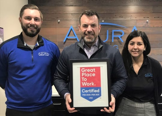 Azura Memory Care, which has a location at 3720 Menasha Ave. in Manitowoc, has been certified as a Great Place to Work by the Great Place to Work Institute. Pictured from left: Landon Boettcher, human resources; Josh McClellan, founder and CEO of Azura Memory Care; and Rym Soltani, human resources.