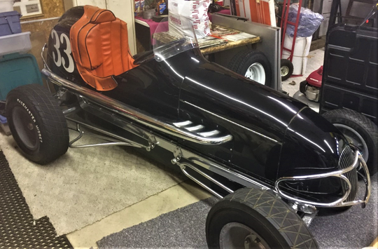Lowell purchased this 1947 black and white midget, built by Ray Leo of Columbus.