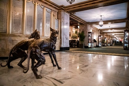 Inside the Peabody Hotel lobby on Friday, March 13, 2020.