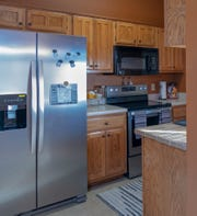 The kitchen in Andrea Humphrey's new home features appliances that match up well with the cabinetry and countertops.