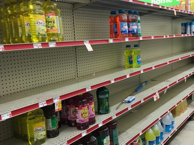 Near bare shelves at Family Dollar in Frayser