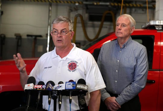 Milwaukee Fire Chief Mark Rohlfing provides background as he joins other local officials to give an update on the COVID-19 virus in support of the Milwaukee Health Department's preparations for the likelihood of people within the city of Milwaukee contracting COVID-19.