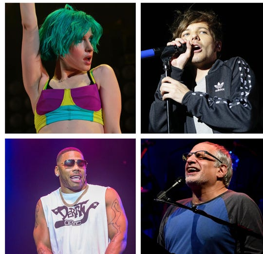 Acts likely to play Summerfest 2020, thanks to favorable routing, include (from top left) Hayley Williams, Louis Tomlinson, Steely Dan and Nelly.