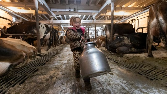 Elizabeth Handel, 4, helps out with chores.