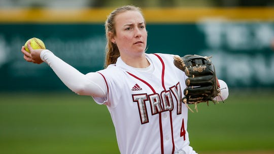 Troy senior Grace Mirly throws during warmups before an NCAA softball game against UT-Arlington, Sunday, March 8, 2020, in Arlington, Texas. (AP Photo/Brandon Wade)