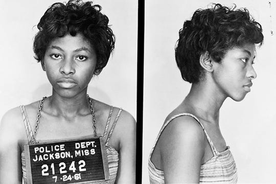 Kredelle Petway's booking mug when she was arrested as a Freedom Rider at the Jackson, Mississippi airport on July 24, 1961.