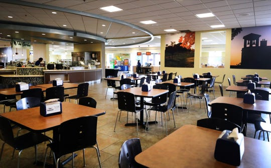 The McCallie dining hall at MTSU was nearly empty Friday due to spring break. For students staying on campus as spring semester is completed via remote delivery, meals are being taken to go.