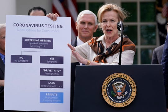 Dr. Deborah Birx, White House coronavirus response coordinator, speaks during a news conference about the coronavirus in the Rose Garden of the White House, Friday, March 13, 2020, in Washington.