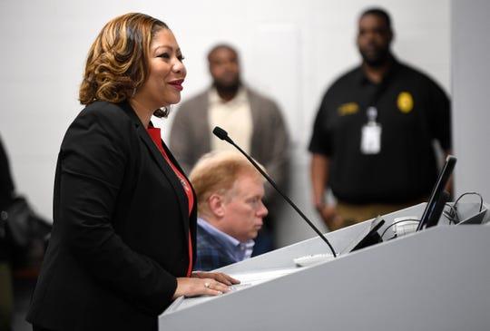 Adrienne Battle speaks at a Metro Nashville Schools board meeting on March 12.