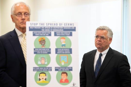 Dr. William Shaffner, M.D., and Nashville Mayor John Cooper stand together during a news conference at Lentz Public Health Center Friday, March 13, 2020, in Nashville, Tenn.