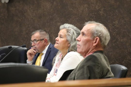 From left:City of Carlsbad Administrator John Lowe, Ward 1 City Councilor Lisa Anaya Flores and Ward 4 City Councilor Mark Walterscheid listen to a presentation during the March 10, 2020 Carlsbad City Council meeting.