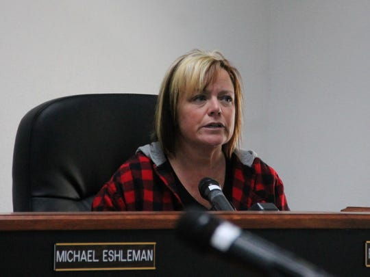 Otero County Manager Pamela Heltner addresses the Otero County Commission at an emergency meeting March 13.