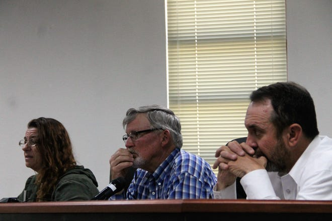 File photo of the Otero County Commission.  From left to right are Otero County Commission Vice Chairwoman Lori Bies, Otero County Commission Chairman Gerald Matherly and Otero County Commissioner Couy Griffin.